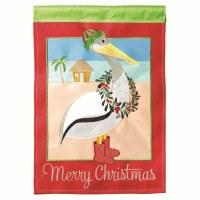 "18"" x 13"" Mini Merry Christmas Pelican Garden Flag"