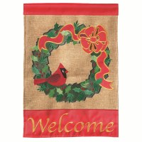 """42"""" x 29"""" Welcome Cardinal Wreath Garden Flag"""