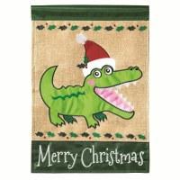 "18"" x 13"" Mini Merry Christmas Gator Garden Flag"