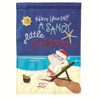 """18"""" x 13"""" Mini Sandy Christmas Santa Garden Flag"""