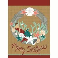 """18"""" x 13"""" Mini Merry Christmas Mermaid Wreath Garden Flag"""