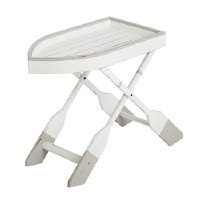 """27"""" White and Gray Boat Shaped Table"""