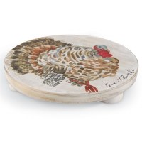 """8"""" Round Turkey Wooden Trivet"""