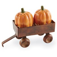 """2"""" Pumpkin Salt and Pepper Shakers With Wagon"""