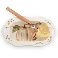 """10"""" Pumpkin Gather Bowl With Spoon"""