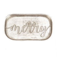 "11"" x 6"" Silver Metal Merry Tray"