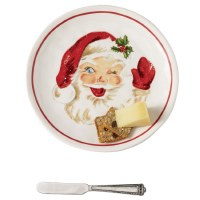 "8"" Round Santa Face Platter With Spreader"