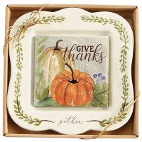 """8"""" Square Gather Platter With Napkins and Spreader"""