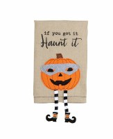 "21"" x 14"" Jack O Lantern With Dangle Legs Kitchen Towel"