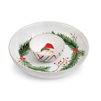 "12"" Round Santa With Pine Chip and Dip Bowl"