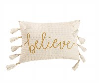 "12"" x 18"" White and Gold Believe Pillow"