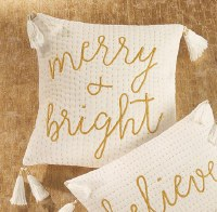 "18"" Square White and Gold Merry and Bright Pillow"