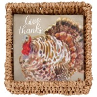 "6"" Square Turkey Beverage Napkin With Holder"