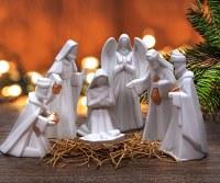 "Set of 7 9"" White Nativity Figures"