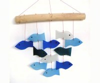 "12"" Blue Fish Glass Windchime"
