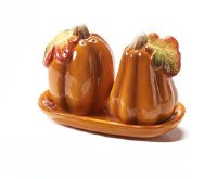 "4"" Pumpkin Salt and Pepper Shaker With Tray"