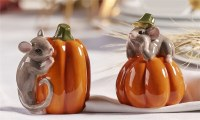 "3"" Pumpkin With Mice Salt and Pepper Shaker"