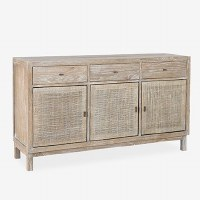 """55"""" White Gray 3 Drawer and 3 Woven Door Credenza"""