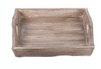 "14"" Square White Washed Brown Wooden Tray With Handles"