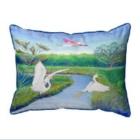 "11"" x 14"" 2 Egrets and Roseate Pillow"
