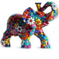 "4"" Multicolored Mosaic Flower Elephant"
