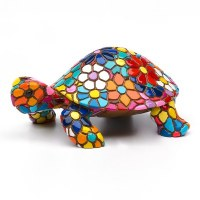 "5"" Multicolored Flower Mosaic Turtle"
