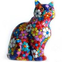 "4"" Multicolored Flower Mosaic Cat"