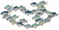 """37"""" Blue, Green and White School Of Fish Wall Plaque"""