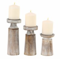 Set of 3 White Washed Pillar Candle Holders
