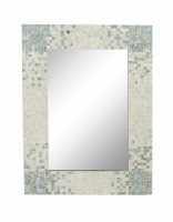 """48"""" x 36"""" Aqua and White Mother Of Pearl Mosaic Mirror"""