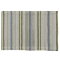 """13"""" x 19"""" Blue and Green Stripe Succulent Placemat"""