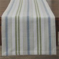 "72"" Blue and Green Stripe Succulent Runner"