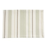 "13"" x 19"" Green and Taupe Patience Stripe Napkin"