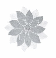 """14"""" Round Silver Poinsettia Placemat"""