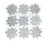 """36"""" Square Silver Poinsettia Topper"""