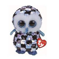 "10"" Medium Flippable Topper Blue and Black Owl"