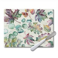 "8"" x 10"" Autumn Leaves Glass Cutting Board With Spreader"
