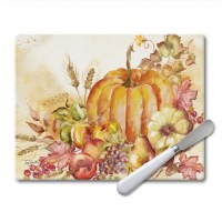 "8"" x 10"" White Harvest Glass Cutting Board With Spreader"