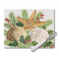 "8"" x 10"" Christmas By the Sea Glass Cutting Board and Server"