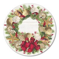 """15"""" Round Christmas Sea Wooden Lazy Susan"""