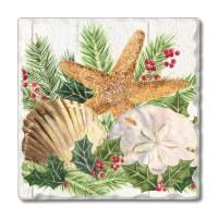 "Set of 4 4"" Tumbled Tile Christmas Sea Coasters"