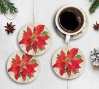 """Set of 4 4"""" Round Poinsettia Coasters"""