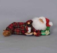 "16"" Midnight Snack Laying Santa Figurine"
