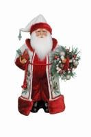 "17"" Red and White Winter Serenity Santa Figurine"