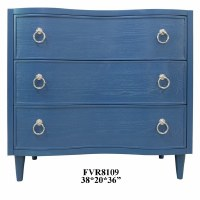"36"" Dark Blue 3 Drawer Chest"