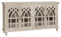 "72"" White Washed 4 Door Arch Credenza"