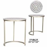 "21"" Round White Marble Swirl Table"