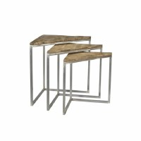 Set of 3 White Gray Triangle Table