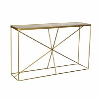 "52"" White Marble With Antique Brass Base Console"