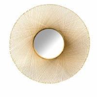 """45"""" Round Gold Wire Mirror"""